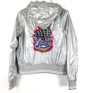 Silver Hooded Bomber Jacket Bulldog Embroidery